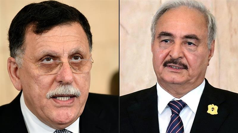 Al-Sarraj, left, and Haftar, right, are expected to travel to Moscow [File: Photos by Fethi Belaid and HO/AFP]