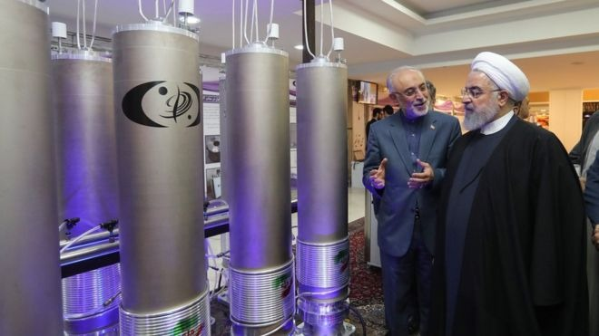 Iran says it suspended its nuclear commitments in response to the reinstated US sanctions