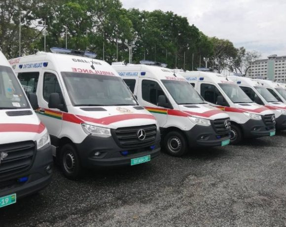 Ambulances parked at the forecourt of Parliament House