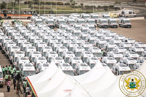 President Akufo-Addo Commissions 307 Ambulances; Fulfills 1-Constituency-1-Ambulance Promise
