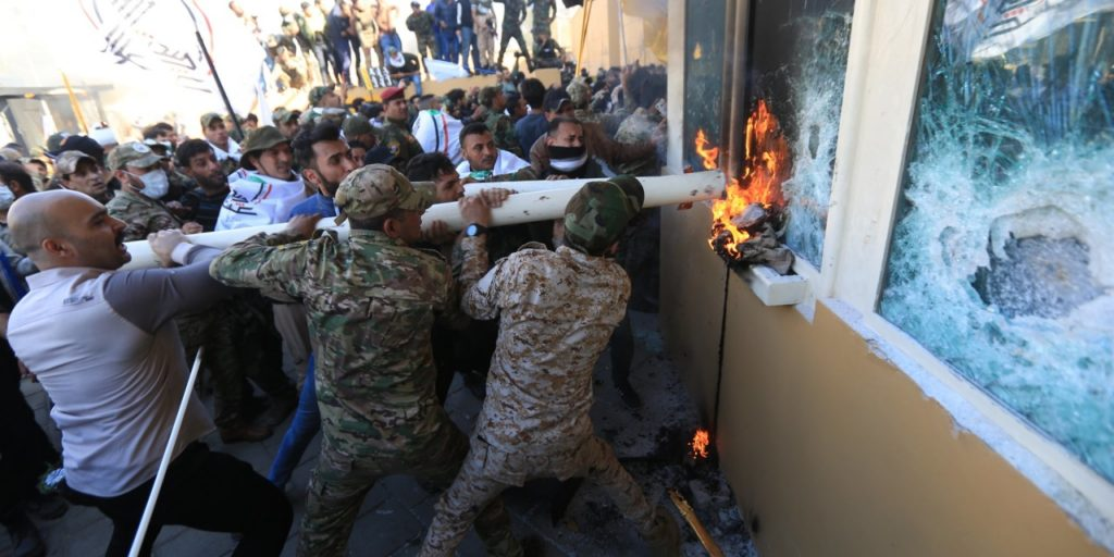 Kata'ib Hezbollah supporters attack US embassy in Baghdad days before United States retaliate by killing Iranian Special Forces Commander