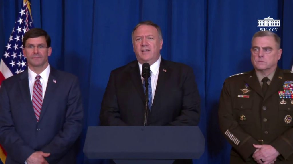 Mike Pompeo and Mark Esper press briefing before strike killing Iranian Special Forces Commander