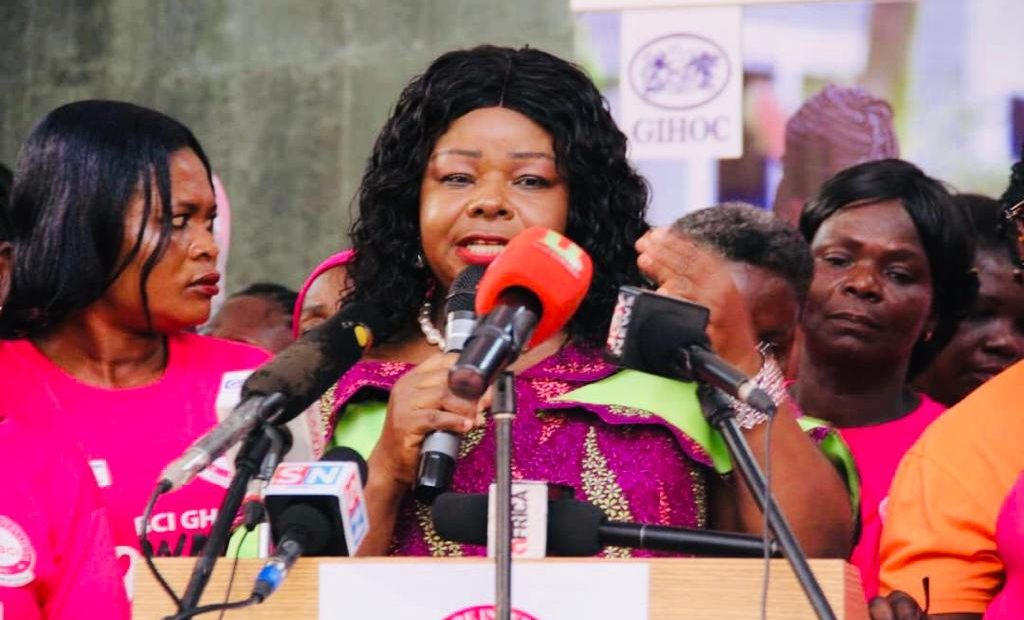 Dr Mrs Beatrice Wiafe Addai, Cancer surgeon and President of BCI speaking during the World Cancer Day closing ceremony at Kumasi Technical University campus.