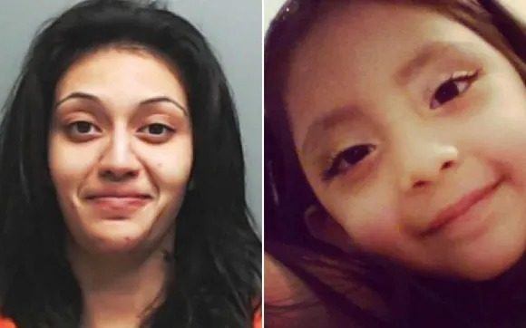 Krystle Villanueva beheaded five year-old daughter Giovanna Hernandez, then called 911 and said she'd done it because the youngster asked for cereal (Pictures: Hays County Sheriff's Office)