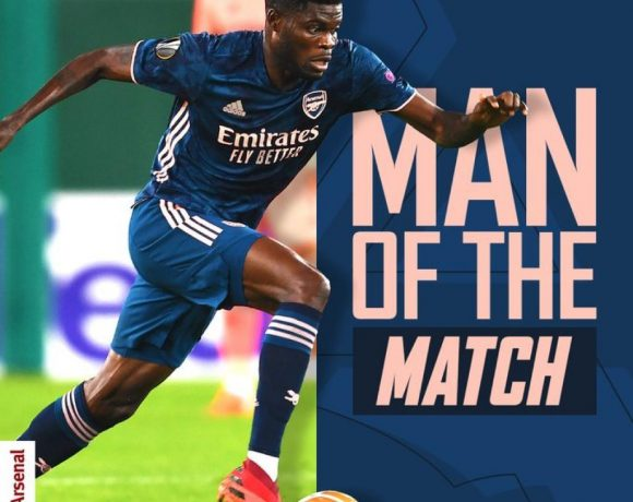THOMAS PARTEY NAMES MAN OF THE MATCH ON FULL ARSENAL DEBUT IN RAPID VIENNA CLASH